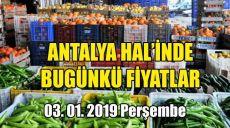 Antalya Hal'inde 3 Ocak 2019 Perşembe Günkü Fiyatlar