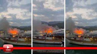 Antalya'da 17 Metrelik Tur Teknesi Alev Alev Yandı