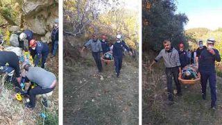 Antalya'da Defne Keserken 30 Metrelik Uçuruma Yuvarlanan Kadın İtfaiye Tarafından Kurtarıldı